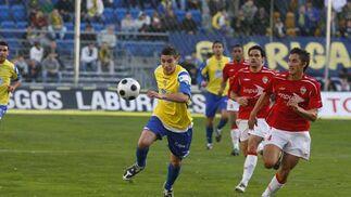 El Cádiz no cuajó su mejor partido ante el Portuense, pero un gol de López Silva en el minuto 62 fue suficiente para decidir el partido./Joaquín Hernández Kiki