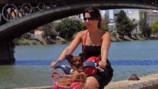 Una joven pasea en bicicleta por las orillas del río con su perrito en la canasta.  Foto: Victoria Hidalgo/Juan Carlos Vázquez