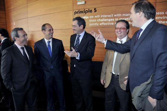 Juan Carlos Fernández, Alejandro Cueto, Antonio Fragero, Félix de León y Francisco Rodríguez Piñero.  Foto: J.C. Vázquez Y J.A. García