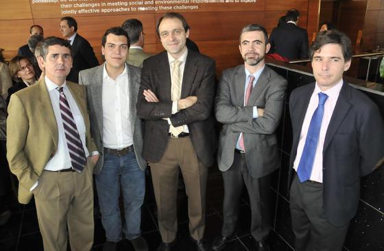 Emilio Gómez, Santiago Ruiz, José Ignacio Clemente, Manuel Jiménez Díaz y Octavio Garrido.  Foto: J.C. Vázquez Y J.A. García