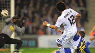 Marcelo dispara a puerta en el gol del Real Madrid. / AFP