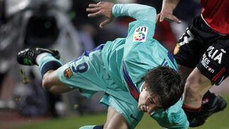 El Barcelona gana en Mallorca con goles de Messi, Villa y Pedro (0-3). / AFP
