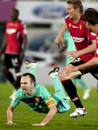 El Barcelona gana en Mallorca con goles de Messi, Villa y Pedro (0-3). / EFE