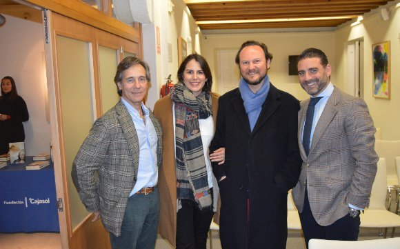 Jorge Manrique, Lucy Woodnut, el marqués de Mortara y Matías Urrea, tras la presentación del libro.  Foto: Ignacio Casas de Ciria