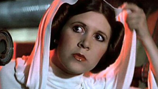 Carrie Fisher como la princesa Leia.