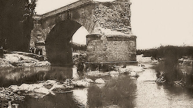 Arcos. Paso provisional del rio. Riada 1917 (Archivo Rossetti)
