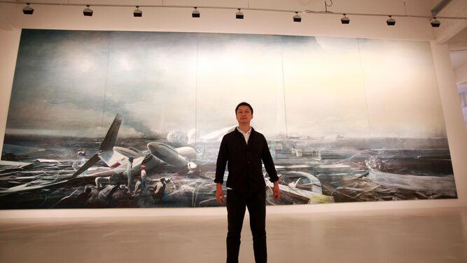 Arriba, foto de la obra de Jia Aili; abajo, el trabajo de Peter Doig.