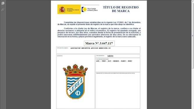 El escudo del xerez cd en manos de la afici n xerecista for Oficina espanola de patentes y marcas