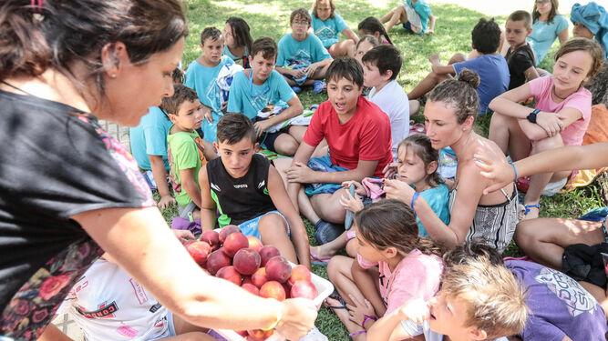 Monitores ofreciendo fruta para la merienda