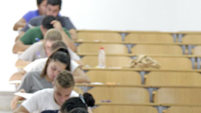 Un alumno, concentrado durante uno de los exámenes.