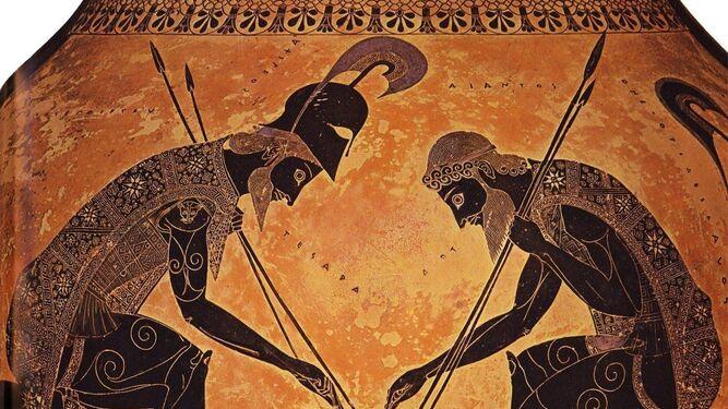 1 . Casco griego en el Museo Arqueológico Municipal (M. ARANDA). 2. Hoplitas con cascos corintios. Lécito ático de figuras negras (520-510 a.C.) (MAN). 3.  Artesano fabricando un casco. 4. Detalle del ánfora del pintor Exequias (550-530 a. C.) en la que aparecen Ajax y Aquiles jugando a los dados con los cascos corintios (uno puesto y el otro colgado en la pared a modo de panoplia). 5.  Evolución tipológica de los cascos griegos, según H. A. Bridger. 6.  El oficio de 1938 de la donación y la gratificación a quien halló el casco. 7. Detalle de los golpes causados al casco, que han dado lugar a varias interpretaciones (M. A.).