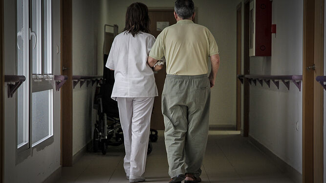 1. Una profesional de la unidad de día acompaña a un usuario en un paseo por el pasillo de las instalaciones 2. Una mujer sigue las indicaciones de un monitor y suma con los dedos en una de las actividades. 3. Una de las salas de la unidad, donde los usuarios realizan talleres para estimular la memoria. 4. Otra de las pacientes que, con más de 90 años, lleva a cabo ejercicios utilizando el ordenador. 5. El fisioterapeuta del centro atiende a uno de los usuarios.