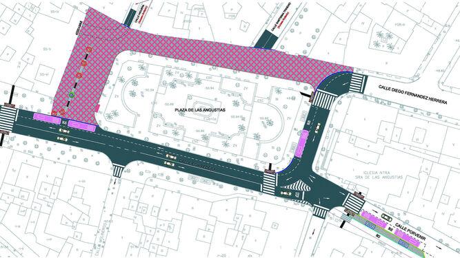 Plano del proyecto de la plaza de Las Angustias. La zona de cuadrícula (parte superior) será la peatonal.