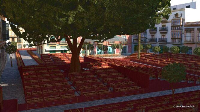 Panorámica de la plaza del Banco desde la calle Eguilaz en la que se puede observar el famoso ficus rodeado de palcos con el templete al fondo.
