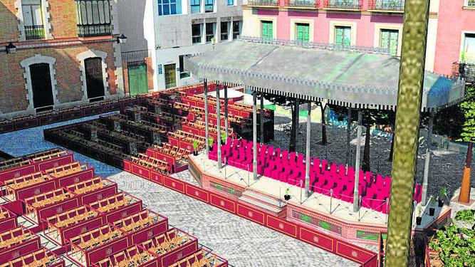 El templete de la plaza del Banco será aprovechado como palco de invitados del consejo.