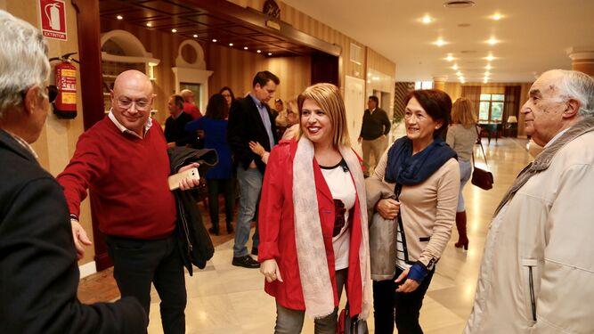 Mamen Sánchez, a su llegada al hotel Guadalete.
