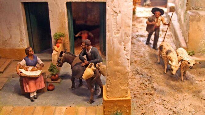 Detalle de uno de los belenes con figuras de Ángel Martínez.