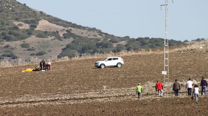 Zona agrícola denominada como Puente Pared donde se localizó el cadáver ayer sobre las once de la mañana.