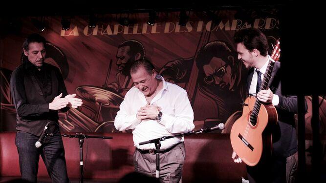 Dos momentos de la presentación del disco de Andrés de Jerez en París.