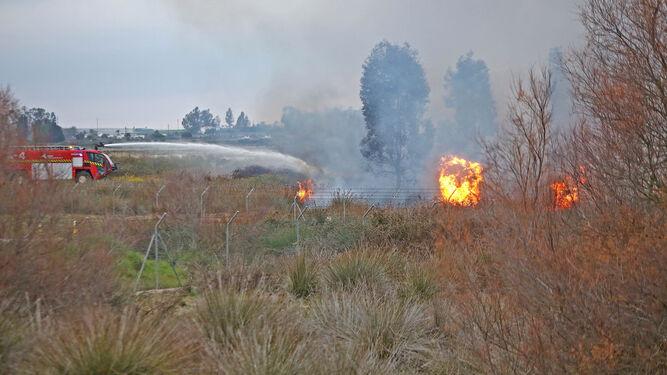 Imágenes de los dos focos de incendios sofocados ayer por los bomberos junto a la carretera de Guadalcacín a Nueva Jarilla.