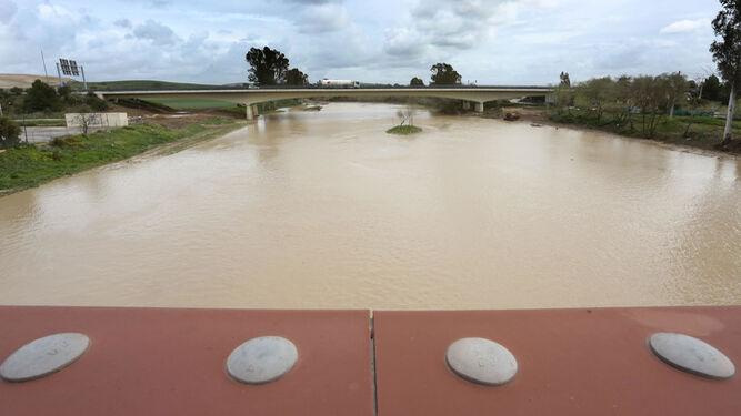 El río Guadalete, con espacio aún en sus márgenes para asumir más agua. Al fondo se ve el puente de la autopista AP-4.