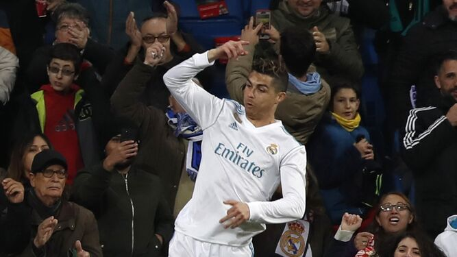 Cristiano Ronaldo celebra el segundo gol del Real Madrid al Girona.