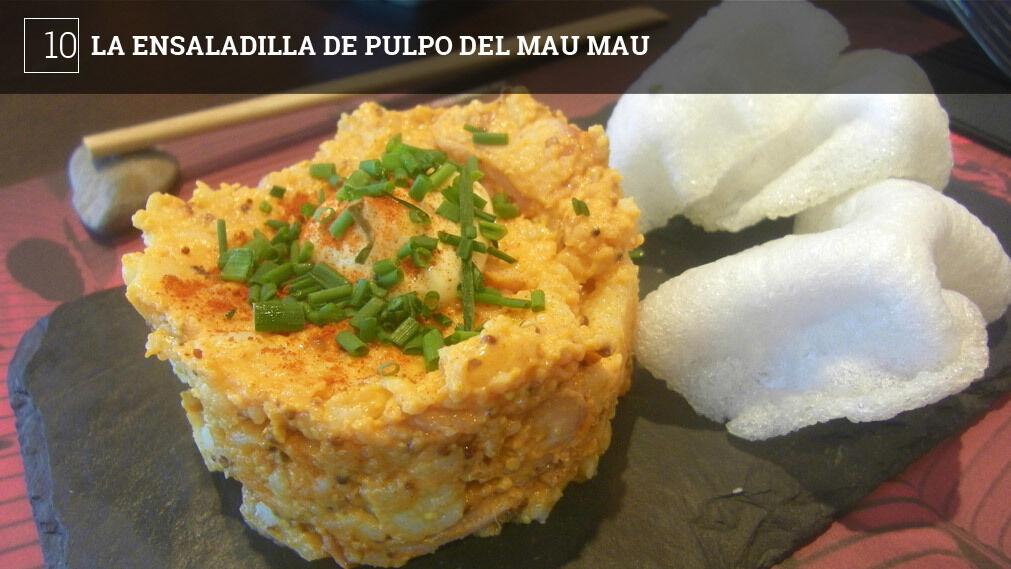 """Mau Mau, especializado en cocina asiática, está situado en El Corte Inglés. En su carta tienen una ensaladilla de pulpo bastante lograda y """"orientalizada"""". Original la guarnición: en vez de picos se come con pan de gambas."""