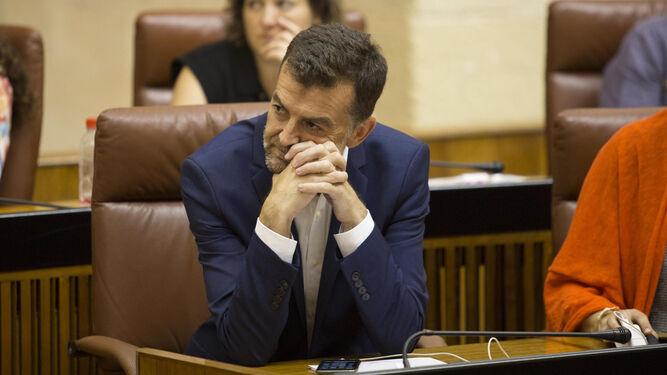 Antonio Maíllo (IU), durante una de sus intervenciones en el Parlamento andaluz.